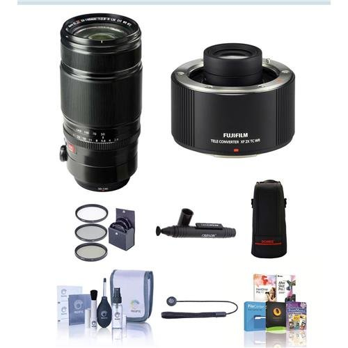 Fujifilm XF 50-140mm (76-213mm) F2.8 R LM OIS Weather Resistant Lens - Bundle w/Fuji XF 2X TC WRTeleconverter, 72mm Filter Kit (UV/CPL/ND2), Soft Lens Case Large, Cleaning Kit, Capleash II, Lenspen