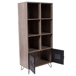 Flash Furniture Woodridge Collection 59.25″H 6 Cube Storage Organizer Bookcase with Metal Cabinet Doors and Metal Legs in Rustic Wood Grain Finish