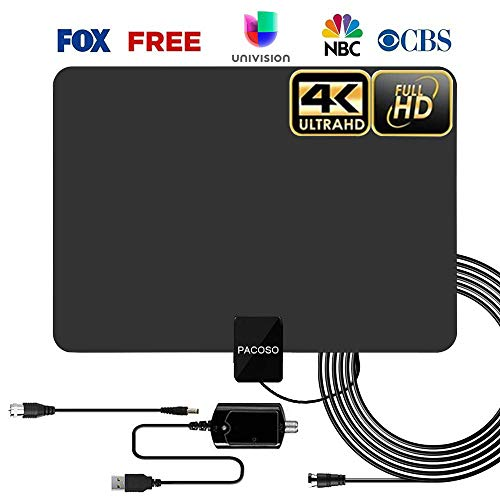 HDTV Indoor Antenna, 50-100 Miles Amplified Digital TV Antenna with Detachable Amplifier Signal Booster. 4K HD 1080P VHF UHF All TVs Freeview Local Channels 13.2ft Coaxial Cable