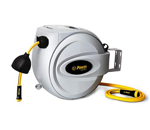 Power Retractable Hose Reel 1/2' x 100 ft, Super Heavy Duty, 500 PSI Burst Strength, 3 Layer Hybrid Hose, Slow Return System, Exclusive Twist Collar and The Patented Nozzle Protector