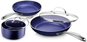 Granite Stone Diamond Blue Pots and Pans Set with Ultra Nonstick Durable Mineral & Diamond Triple Coated Surface, Stainless Steel Stay Cool Handles, 5 Piece Cookware