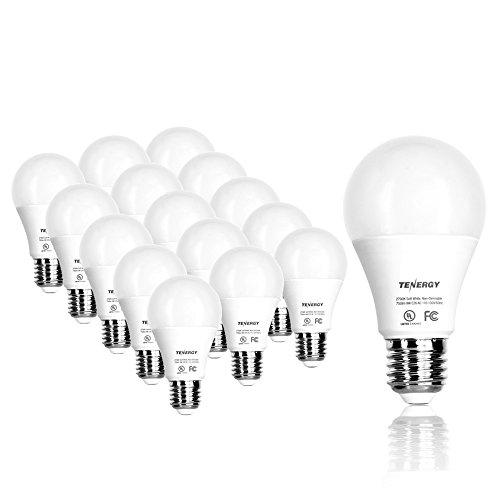 Tenergy 9WLED Bulb60 Watt EquivalentA19 LED Light Bulbs,E26Household Lightbulb,750 LumensEnergy Saving LampSoft/Warm White 2700K Lights, 220°Beam Angle, 16-Pack, Non-Dimmable