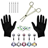 BodyJ4You 15PCS Professional Piercing Kit Stainless Steel 14G Double CZ Belly Navel Ring Body Piercing Set