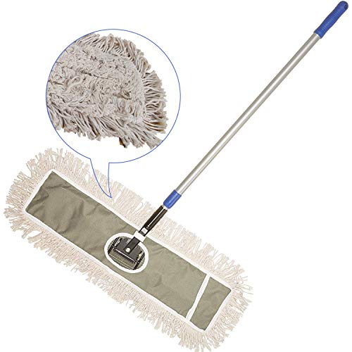 JINCLEAN 24' Industrial Class Cotton Floor Mop | Dry to Attract dirt, dust Or Hardwood Floor Clean, Office, Garage Care, Telescopic Pole Height Max 59' (24' x 11' Cleaning Path Industrial Mop)