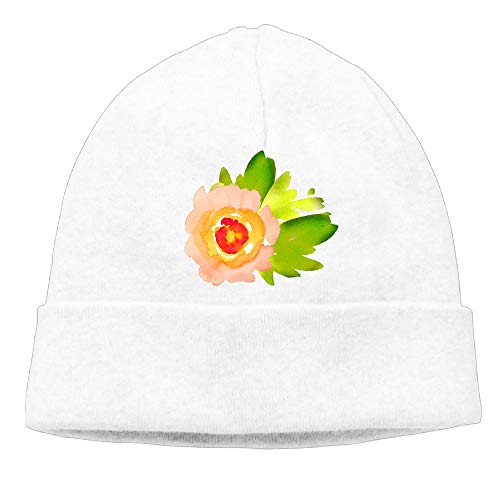 Ghhpws Watercolor Floral Beanie Wool Hats Knit Skull Caps Warm Winter Beanies for Men Women White
