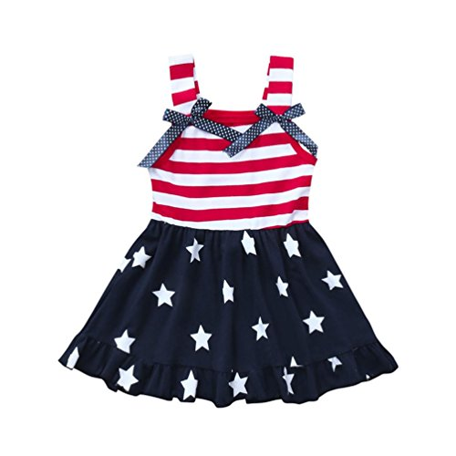 Minisoya Toddler Kids Baby Girls 4th of July Outfit Princess Beach Sundress Cute Bowknot Stars Striped Straps Dress (Blue, 18M)