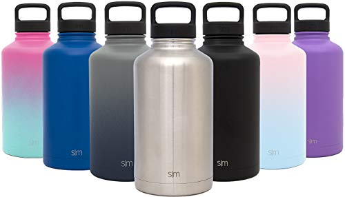 Simple Modern 64 oz Summit Water Bottle - Stainless Steel Half Gallon Flask +2 Lids - Wide Mouth Double Wall Vacuum Insulated Silver Leakproof -Simple Stainless