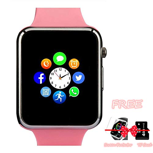 Smart Watch, Bluetooth Smartwatch with Camera TF Card Pedometer SIM Card Slot Music Player Compatible for IOS IPhone (Partial Functions) and Android Phone Samsung HTC Sony LG HUAWEI for Men Women Kids
