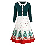 Women's Christmas Vintage Long Sleeve Peter Pan Collar Print Xmas Dress Midi Dress (M-3XL)