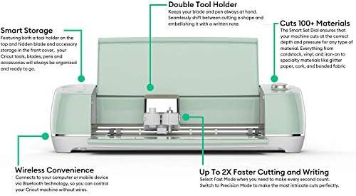 Cricut Explore Air 2 Mint Bundle with Vinyl Sampler and Basic Tool Set