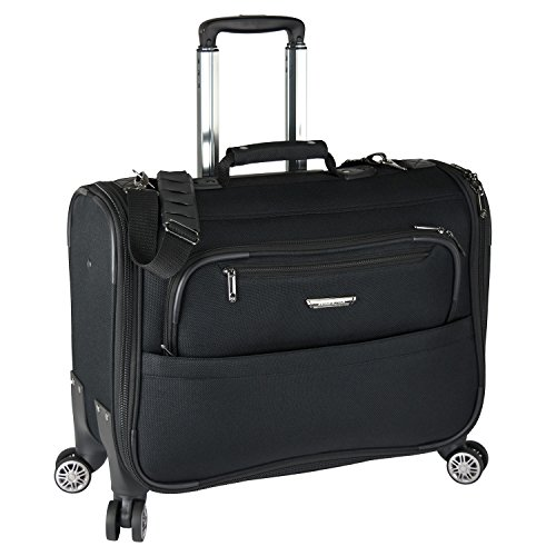 Traveler's Choice 21-inch Carry-on Softside Durable EVA Molded Ballistic Fabric 8-Wheel Spinner Garment Bag Luggage Suitcase, Black