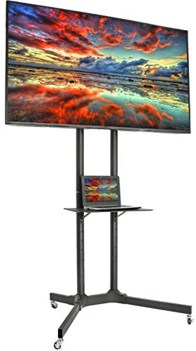 VIVO Black Rolling TV Cart for 32' to 65' LCD LED Plasma Flat Panel Screen | Mobile Stand with Wheels (STAND-TV03E)