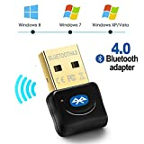 Bluetooth 4.0 USB Dongle Adapter - Maxesla Wireless Bluetooth Transmitter Receiver for Windows 10/8 / 7 / Vista/XP Laptop PC for Bluetooth Speaker, Headset, Keyboard, Mouse, Game Controller Black