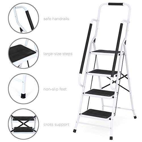 Best Choice Products 4-Step Portable Folding Anti-Slip Steel Safety Ladder w/Handrails, Attachable Tool Bag - White