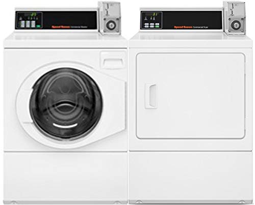 Speed Queen Front Load Energy Star SFNNCRSP115TW02 27' Washer with SDENCRGS173TW02 27' Electric Dryer Commercial Laundry Pair in White