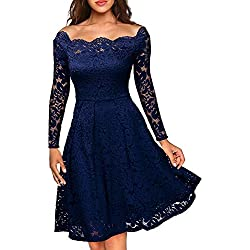 MISSMAY Women's Vintage Floral Lace Long Sleeve Boat Neck Cocktail Formal Swing Dress Navy Blue X-Large