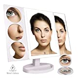 Hollywood Makeup Mirror with 44 Natural LED Touch Control Lights and a Large Lighted 10X 5X and 3X Magnifying Trifold Portable Touch Display with a 10X Travel Mirror - White