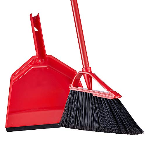 55' Broom and Dustpan Set Tiumso SB030 Anti Static Extendable Angle Brooms Dust Pan Broom Set Sweeping Set Long Broom Red