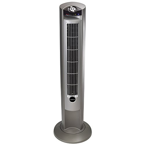 Lasko T42951 Wind Curve Portable Electric Oscillating Stand Up Tower Fan with Remote Control for Indoor, Bedroom and Home Office Use, 13x13x42.5, Silver