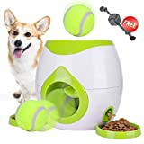 FDA Interactive Tennis Ball Throwing Fetch Machine for Dogs&Cats Food Dispensing Reward Toy Game Toys Animal Training Tool Pet Slow Feeder Puzzle