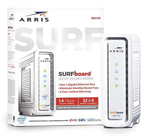 ARRIS SURFboard SB6190 32x8 DOCSIS 3.0 Cable Modem - Retail Packaging - White