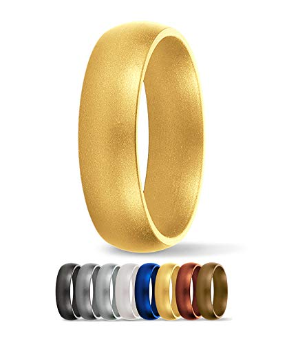 SafeRingz Silicone Wedding Ring, 6mm, Made in The USA, Men or Women, Gold 10