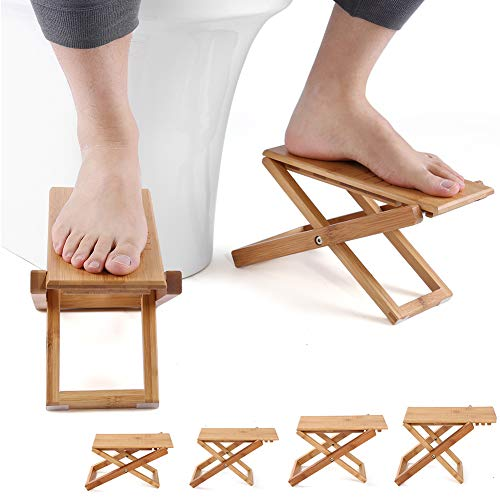 Furniture Life Squatting Toilet Stool, Folding Bamboo Wood Squat Stools, Ultra Portable & Eco Friendly, Free Travel Bag Included, Bathroom Foot Stool (One Pair)