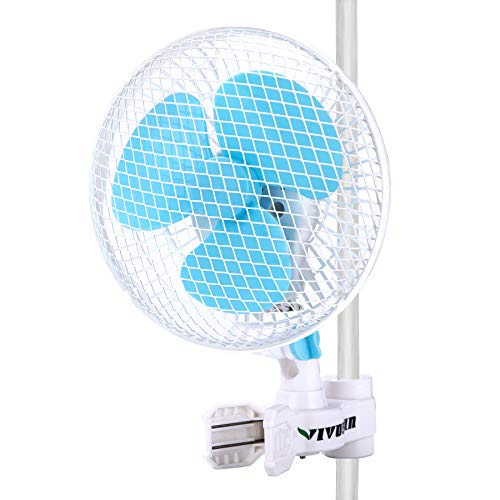 VIVOSUN 6 Inch Clip on Oscillating Fan Fit for 0.59 to 1 Inch Grow Tent Pole with 2-Speed Control
