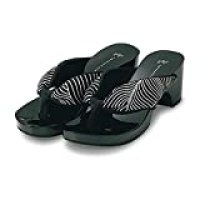 Japanese Geta Style Black & Shiny Sandals with Black and White Wave Pattern (5½)