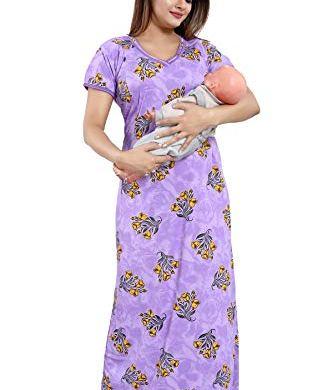 TUCUTE Women's Beautiful Print with Invisible Zip Feeding/Maternity/Nursing Nighty/Nightwear. 17
