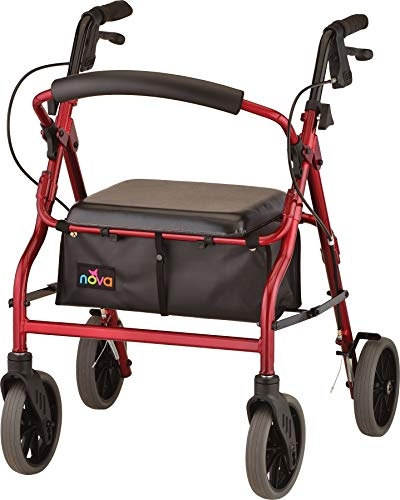 NOVA 20' Zoom Rollator Walker, Red