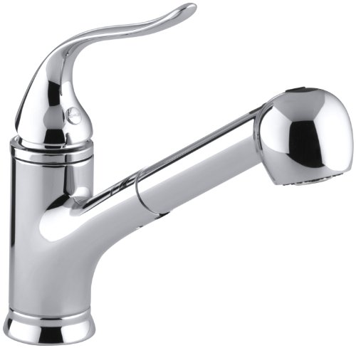 """KOHLER 15160-CP Coralais(R) Single Three-Hole Sink Pull-Out Matching Color sprayhead, 9"""" spout Reach and Lever Handle Kitchen Faucet, Polished Chrome"""