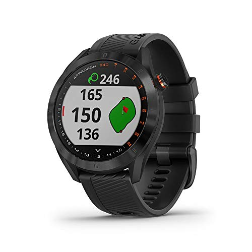 Garmin Approach S40, Stylish GPS Golf Smartwatch, Lightweight with Touchscreen Display, Black, 010-02140-01, Black Stainless with Black Band