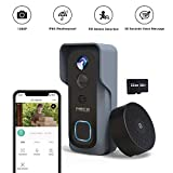 【32GB Preinstalled】 WiFi Video Doorbell,MECO 1080P Doorbell Camera with Free Chime, Wireless Doorbell with Motion Detector, Night Vision, IP65 Waterproof, 166°Wide Angle, 2 Way Audio, 2.4GHz WiFi