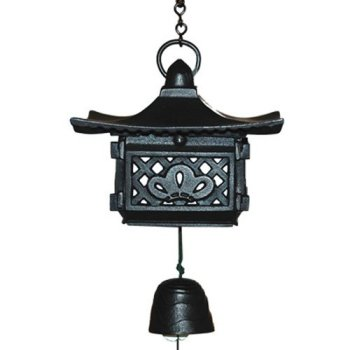 Japanese Nambu Cast Iron Pagoda Furin Wind Chimes with Bell, Made in Japan