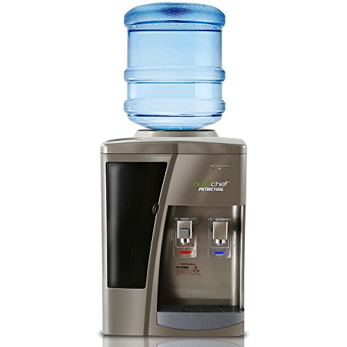 Nutrichef Countertop Water Cooler Dispenser - Hot & Cold Water, with Child Safety Lock. (Silver)