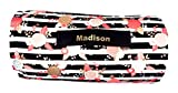 Personalized 1' Memory Foam Preschool / Kinder Nap Mat in Multi Color Stripe with Pillow, and Minky Blanket