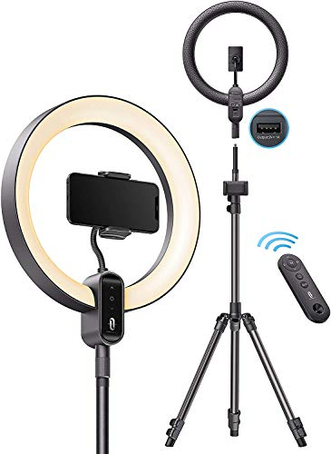 """TaoTronics Ring Light CL025, 12"""" Ring Light with 78"""" Tripod Stand, Dimmable LED Light Outer 24W 6500K, USB Charging…"""