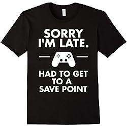 Men's Sorry I'm Late Gamer T-Shirt Funny Gaming Geek Tee XL Black