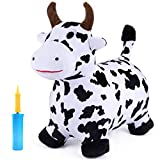 iPlay, iLearn Cow Hopping Horse, Outdoors Ride On Bouncy Animal Play Toys, Inflatable Hopper Plush Covered with Pump, Activities Gift for 2, 3, 4, 5 Year Old KidsToddlers Boys Girls