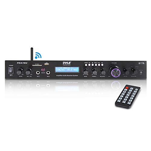 Pyle - Upgraded Premium Rack Mount Bluetooth Receiver, Home Theater Amp, Speaker Amplifier, Bluetooth Wireless Streaming, MP3/USB/SD/AUX/FM Radio, 200 Watt, w/ Digital ID3 LCD Display from - PDA7BU