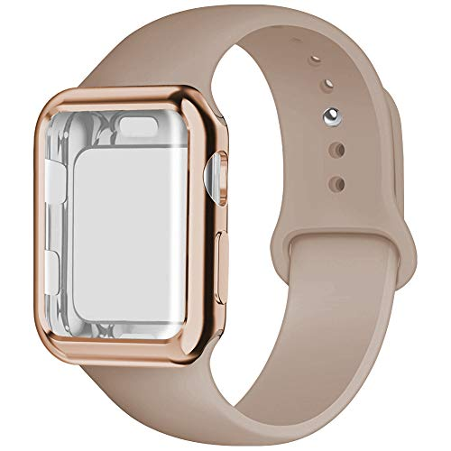 YC YANCH Compatible for Apple Watch Band with Screen Protector 44mm, Silicone Sport Strap Replacement Wristband with Apple Watch Case Compatible with iWatch Apple Watch Series 4, M/L Walnut