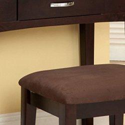 Furniture of America Doris 2-Piece Vanity and Stool Set, Espresso