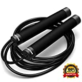 Epitomie Fitness Ballistyx Jump Rope – Fully Adjustable, Premium Speed Jump Rope for Exercise & Workouts – 360 Degree Spin & Full Metal, No-Slip Handle Crossfit Jump Ropes with Power Cable - Black