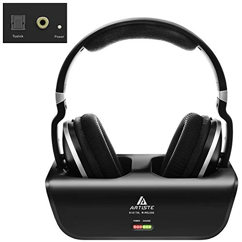 Wireless-Headphones-for-TV-Watching-with-Optical-ARTISTE-ADH300-24GHz-Digital-Wireless-TV-Headphones-100ft-Distance-Rechargeable-for-TVPCPhone-Black-with-Optical