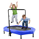 ANCHEER Mini Rebounder Trampoline with Adjustable Handle for Two Kids,Parent-Child Trampoline (Blue)