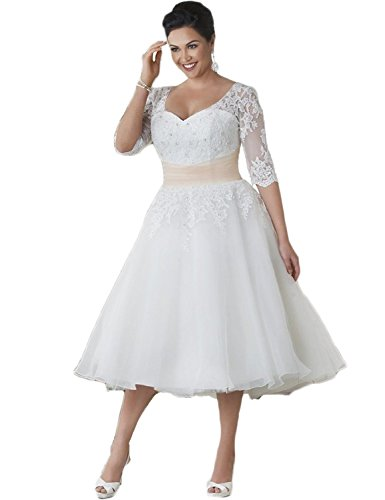"""419uU7hjvKL Tulle and Lace Appliques fabric;Dry clean only Tea Length Half Sleeve Lace Wedding Dresses Plus Size Bridal Size: Checking the actual measurements in our """"Sizing info"""" and comparing them to your own measurements before placing your order is the best way to avoid size errors Color: There might be a slight difference between the actual dress's color and what you see in the photo depending on your computer monitor's display settings"""