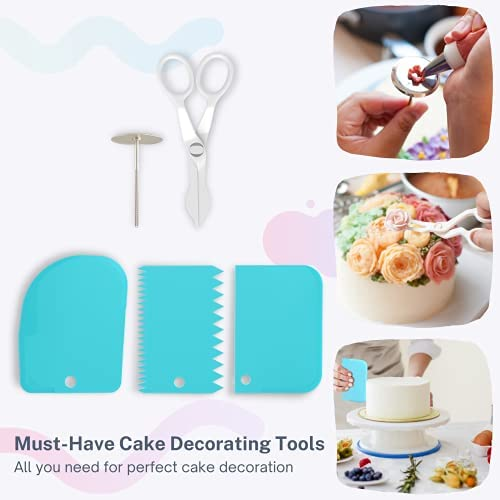 Cakebe Cake Decorating Kit 78 pcs with Icing Piping Bags and Tips Set Cake Leveler Cake Turntable and Other Cake Baking Supplies Baking Set with 32 Frosting Tips and Bags
