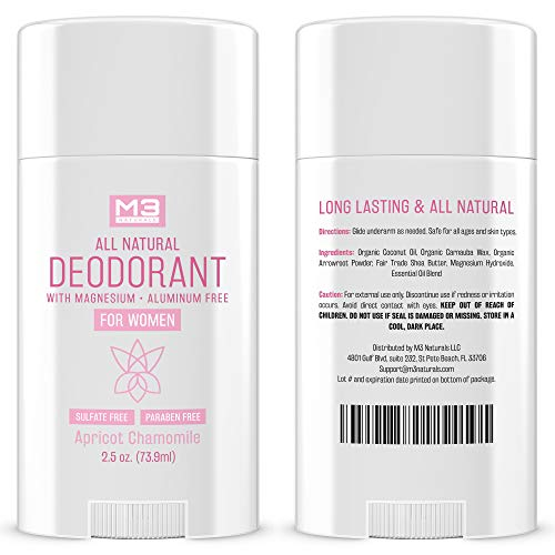 M3 Naturals All Natural Deodorant for Women with Magnesium, Apricot and Chamomile - Long-Lasting, Non-Toxic, Free of Aluminum, Baking Soda, Parabens, Sulfates and Gluten – Vegan, Organic 2.5 oz 3