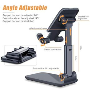 Adjustable-Cell-Phone-Stand-Foldable-Portable-Desktop-Table-Stand-Phone-HolderAngle-Height-Adjustable-Phone-Stand-Holder-for-Desk-Compatible-with-All-Mobile-PhoneiPadKindleTabletBlack